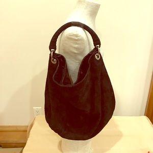 Handbags - Black suede shoulder hobo bag.